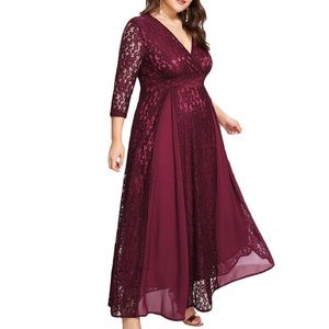 Dresses & Skirts - Plus Grace Shine Lace Chiffon Panel Maxi,14W-22W